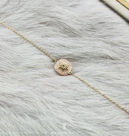 Zag Bijoux Zag Bijoux Bracelet Rosequartz Stone Goudkleurig