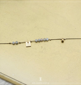 Zag Bijoux Zag Bijoux Bracelet Labradorite Ball Goudkleurig