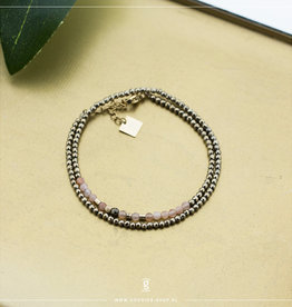 Zag Bijoux Zag Bijoux Double Bracelet Gemstones Goudkleurig