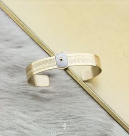 Zag Bijoux Zag Bijoux Bracelet Spang White Jade Goudkleurig