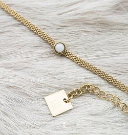 Zag Bijoux Zag Bijoux Bracelet White Jade Goudkleurig