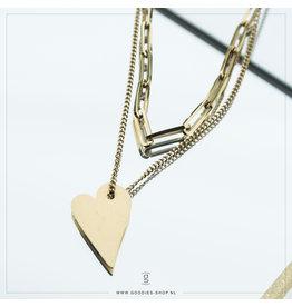 Zag Bijoux Zag Bijoux Necklace Chain Heart Goudkleurig