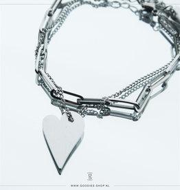 Zag Bijoux Zag Bijoux Bracelet Chain Heart Zilverkleurig