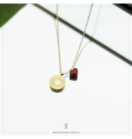 Zag Bijoux Zag Bijoux Necklace Red Heart Goudkleurig
