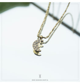 Zag Bijoux Zag Bijoux Necklace Sparkling Moon Goudkleurig