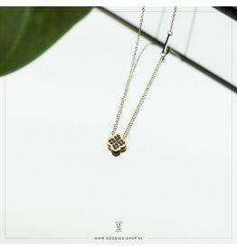 Zag Bijoux Zag Bijoux Necklace Sparkling Black Clover Goudkleurig