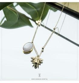 Zag Bijoux Zag Bijoux Necklace Rocky Crystal Bee Goudkleurig