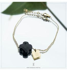 Zag Bijoux Zag Bijoux Bracelet Black Onyx Good Luck Goudkleurig