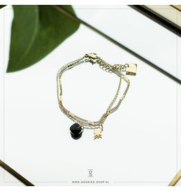 Zag Bijoux Zag Bijoux Bracelet Black Onyx North Star Goudkleurig