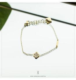 Zag Bijoux Zag Bijoux Bracelet Sparking Clover Goudkleurig