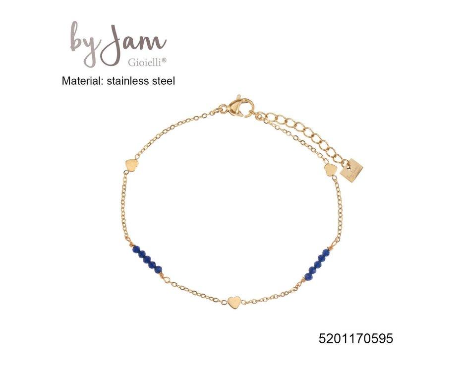 By Jam Gioielli By Jam Armband Heart Blue Beadss Goudkleurig