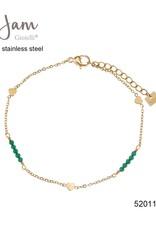 By Jam Gioielli By Jam Armband Heart Green Beadss Goudkleurig