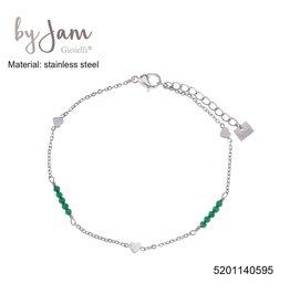 By Jam Gioielli By Jam Armband Heart Green Beads Zilverkleurig