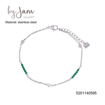 By Jam Gioielli By Jam Armband Heart Green Beads Zilverkleurig