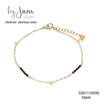By Jam Gioielli By Jam Armband Star Black Beads Goudkleurig