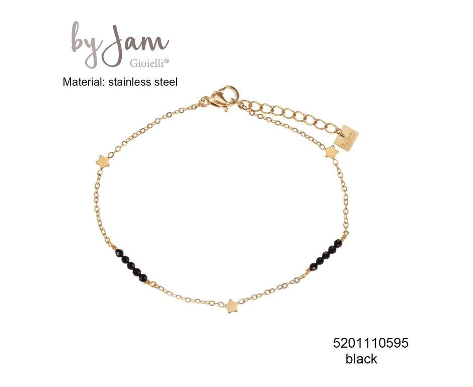 By Jam Gioielli By Jam Armband Star Black Beads Goudkleurig