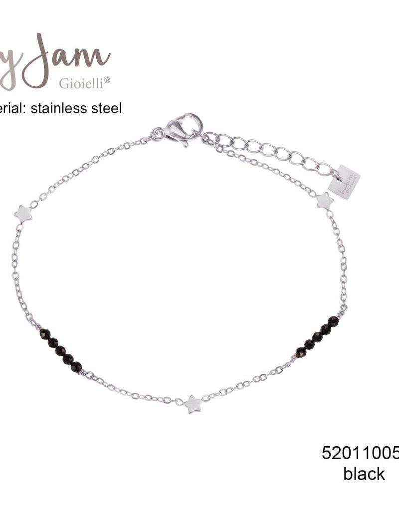 By Jam Gioielli By Jam Armband Star Black Beads Zilverkleurig