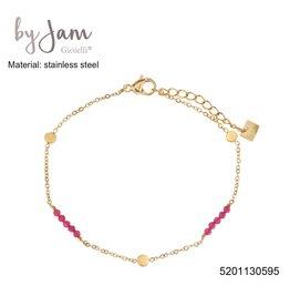 By Jam Gioielli By Jam Armband Round Pink Beads Goudkleurig