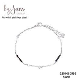 By Jam Gioielli By Jam Armband Round Black Beads Zilverkleurig