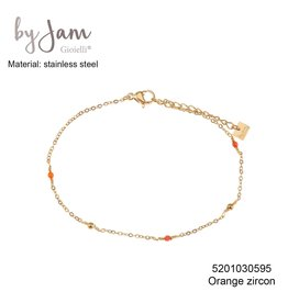 By Jam Gioielli By Jam Armband Orange Beads Goudkleurig