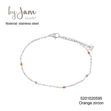 By Jam Gioielli By Jam Armband Orange Beads Zilverkleurig