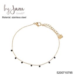 By Jam Gioielli By Jam Armband Black Beads Goudkleurig