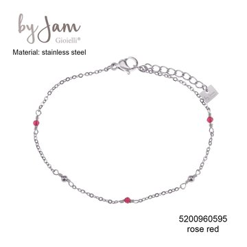 By Jam Gioielli By Jam Armband Rose Red Beads Zilverkleurig