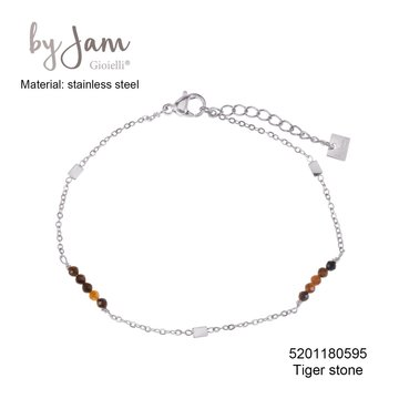 By Jam Gioielli By Jam Armband Brown Rectangle Beads Zilverkleurig