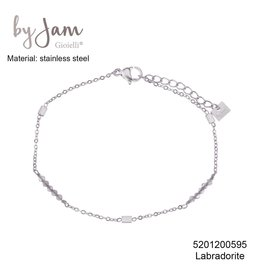 By Jam Gioielli By Jam Armband Grey Rectangle Beads Zilverkleurig
