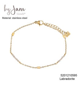 By Jam Gioielli By Jam Armband Grey Rectangle Beads Goudkleurig