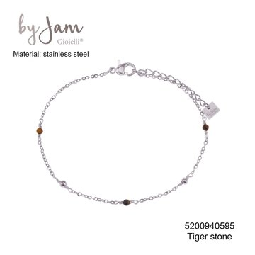 By Jam Gioielli By Jam Armband Brown Beads Zilverkleurig