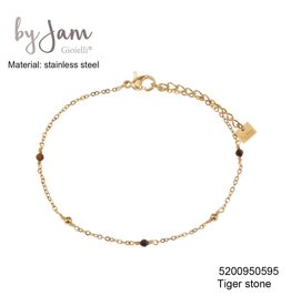 By Jam Gioielli By Jam Armband Brown Beads Goudkleurig