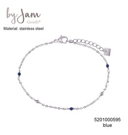 By Jam Gioielli By Jam Armband Blue Beads Zilverkleurig
