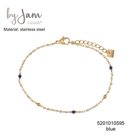 By Jam Gioielli By Jam Armband Blue Beads Goudkleurig