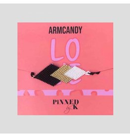 Pinned by K Pinned by K Armband Pyramide Zwart/Goud/Wit