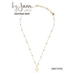 By Jam Gioielli By Jam Ketting Cross Black Beads Goudkleurig