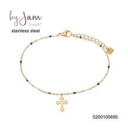 By Jam Gioielli By Jam Armband Cross Black Beads Goudkleurig