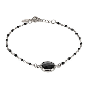 Kalli Kalli Bracelet Zilverkleurig, Stone & Black Beads