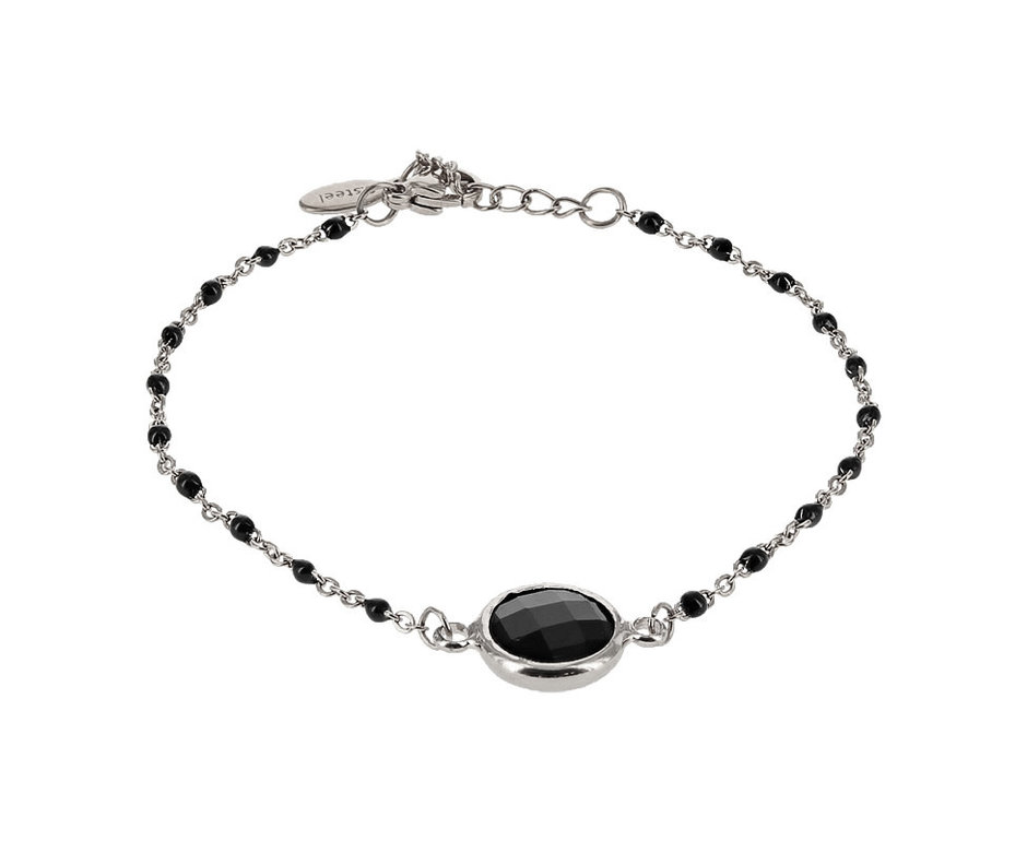 Kalli Kalli Bracelet 2589 Stone Zilverkleurig Black Beads