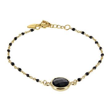 Kalli Kalli Bracelet Goudkleurig, Stone & Black Beads