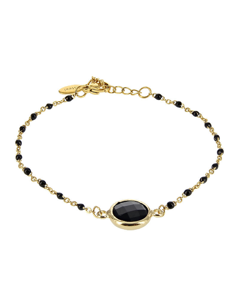 Kalli Kalli Bracelet 2589 Stone Goudkleurig Black Beads