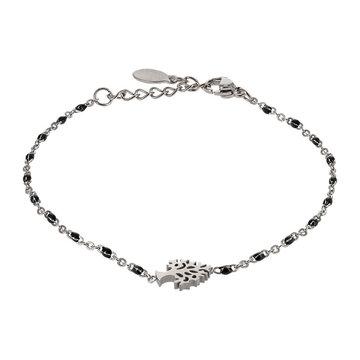 Kalli Kalli Bracelet Zilverkleurig, Tree Of Life & Black Beads