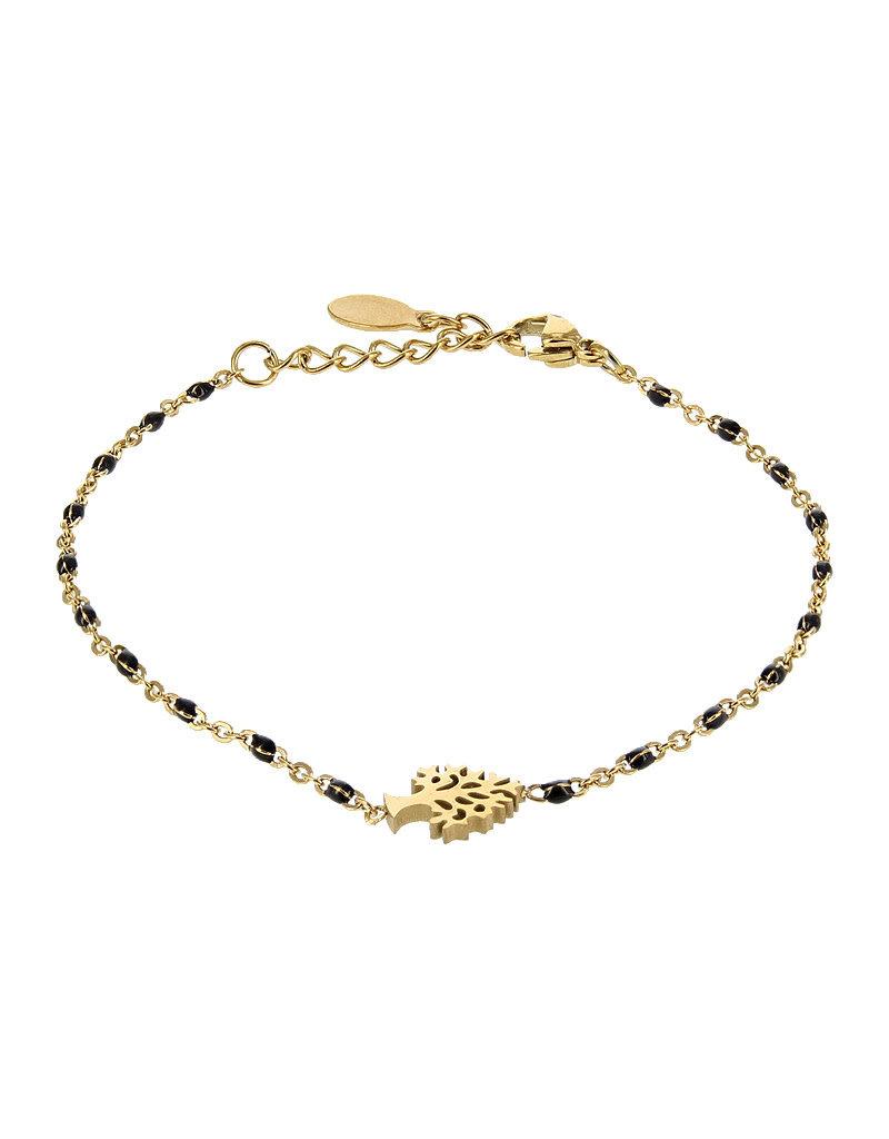 Kalli Kalli Bracelet 2588 Tree Of Life Goudkleurig Black Beads