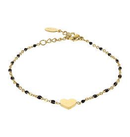 Kalli Kalli Bracelet Goudkleurig, Heart & Black Beads