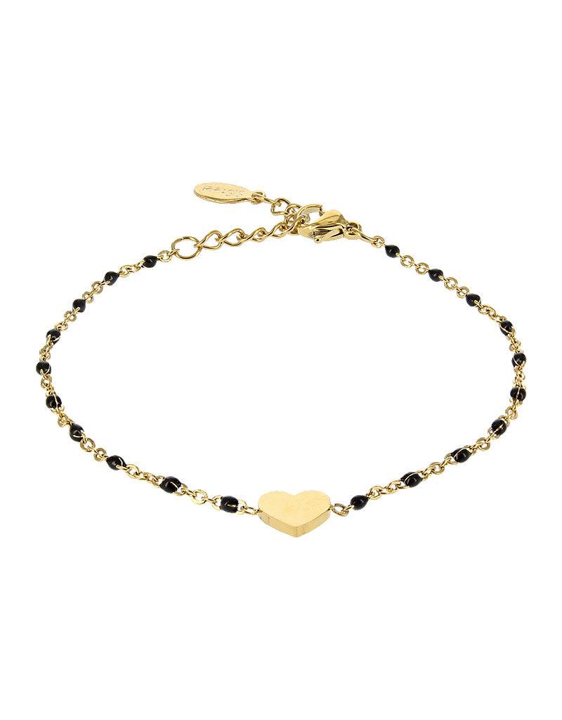 Kalli Kalli Bracelet 2587 Heart Goudkleurig Black Beads