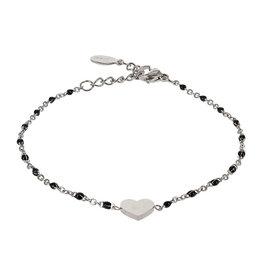 Kalli Kalli Bracelet Zilverkleurig, Heart & Black Beads