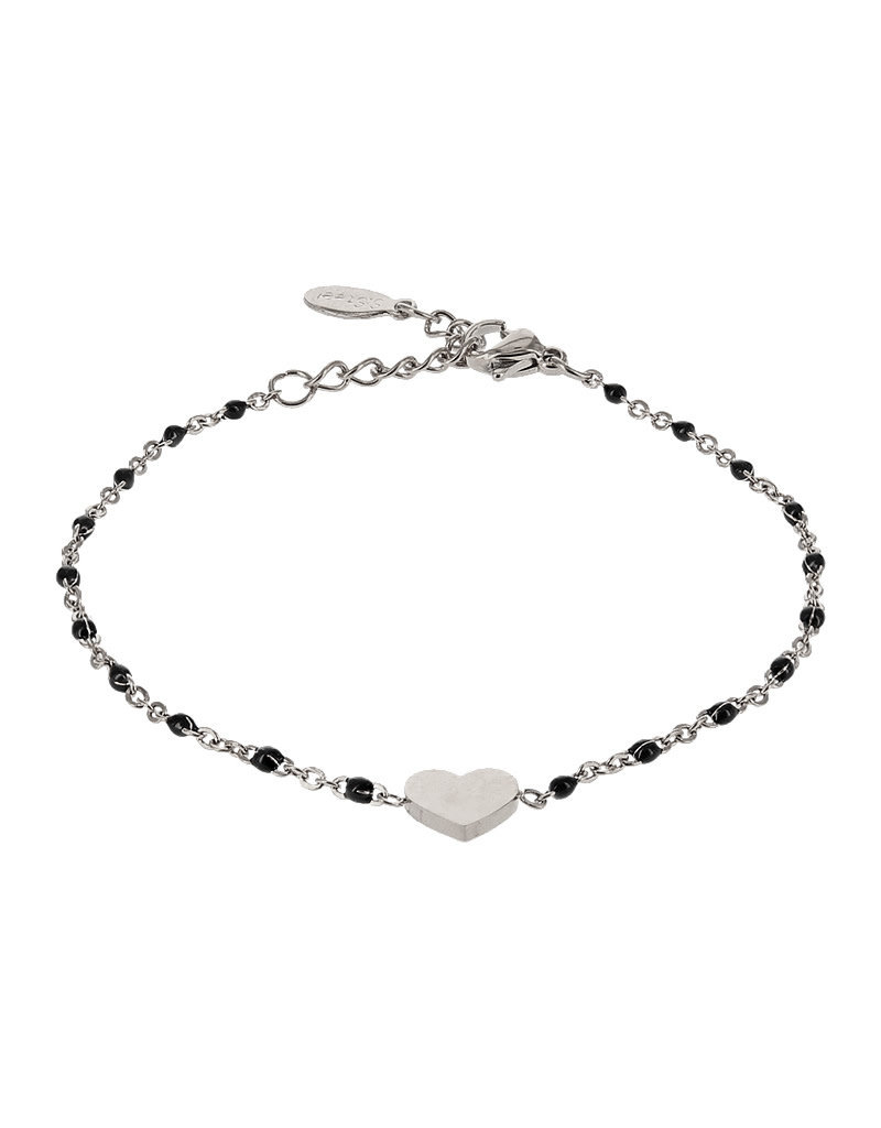 Kalli Kalli Bracelet 2587 Heart Zilverkleurig Black Beads