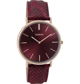 Oozoo Timepieces Oozoo Horloge Bordeaux Rood