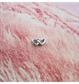 Imotionals Imotionals Silk Cords met Twee Hartjes Zilver
