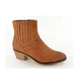 Fabs Shoes Fabs Western Ankle Boots Cognac